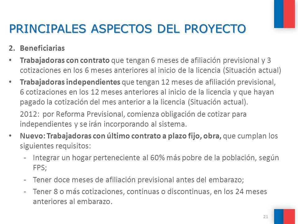 PRINCIPALES ASPECTOS DEL PROYECTO 2.Beneficiarias Trabajadoras con contrato que tengan 6 meses de afiliación previsional y 3 cotizaciones en los 6 mes