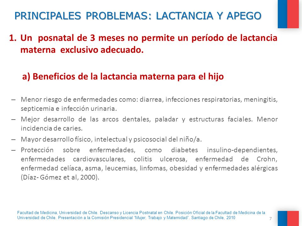 PRINCIPALES PROBLEMAS: LACTANCIA Y APEGO 1.Un posnatal de 3 meses no permite un período de lactancia materna exclusivo adecuado. a) Beneficios de la l