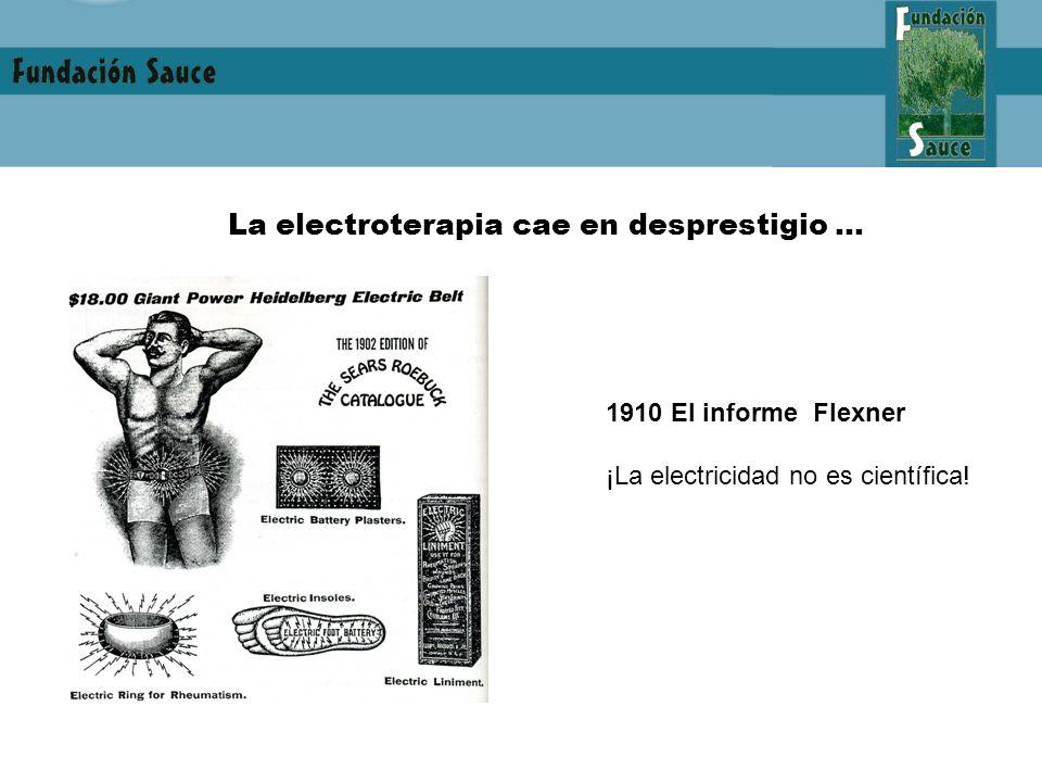 La electroterapia cae en desprestigio … 1910 El informe Flexner ¡La electricidad no es científica!