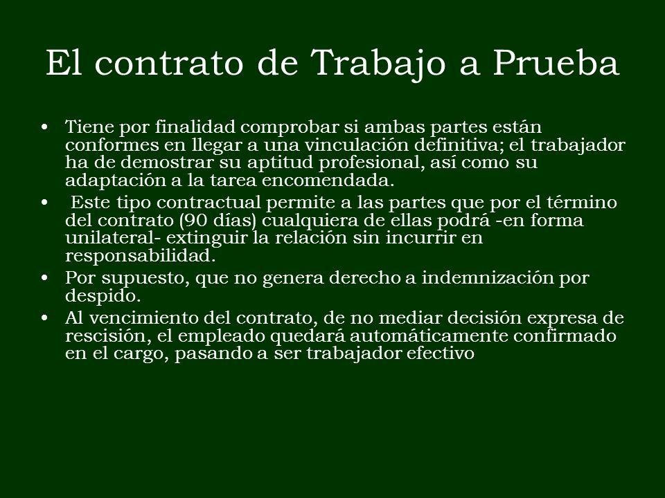 El contrato de Trabajo a Prueba Tiene por finalidad comprobar si ambas partes están conformes en llegar a una vinculación definitiva; el trabajador ha