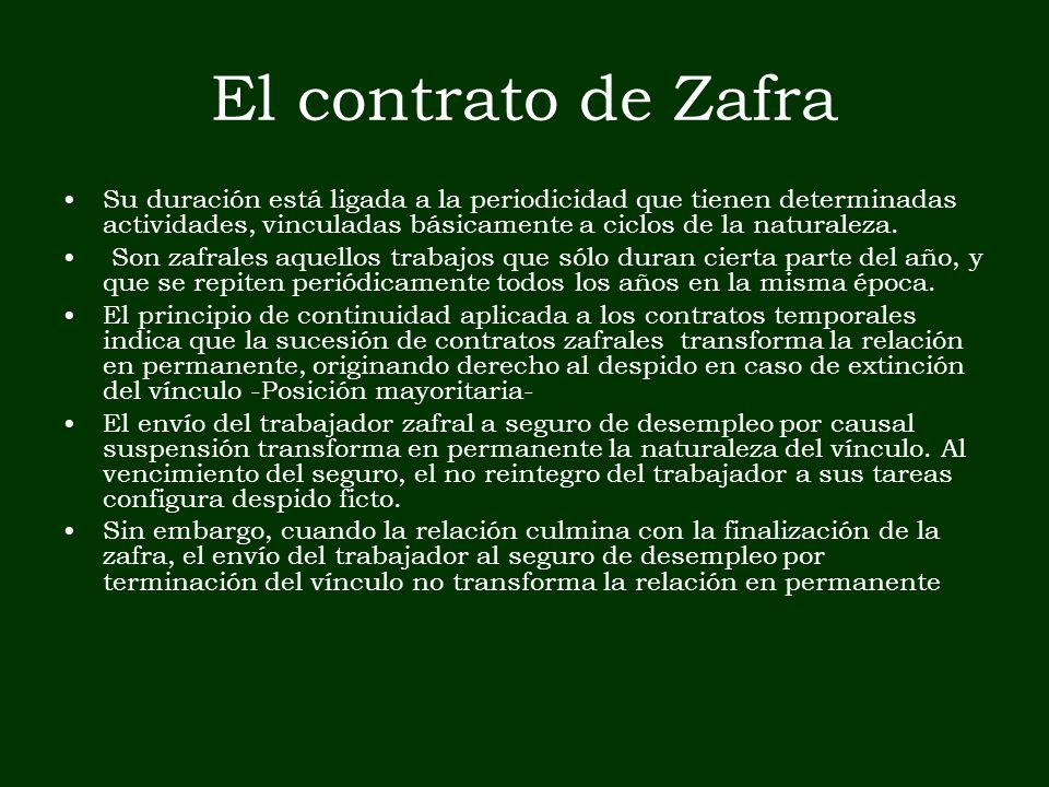 El contrato de Zafra Su duración está ligada a la periodicidad que tienen determinadas actividades, vinculadas básicamente a ciclos de la naturaleza.