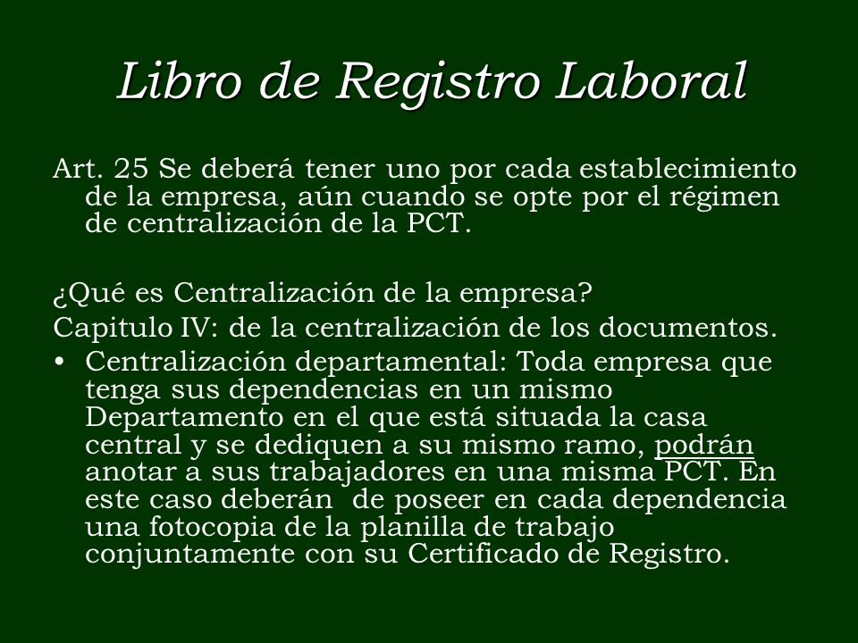 Libro de Registro Laboral Art.