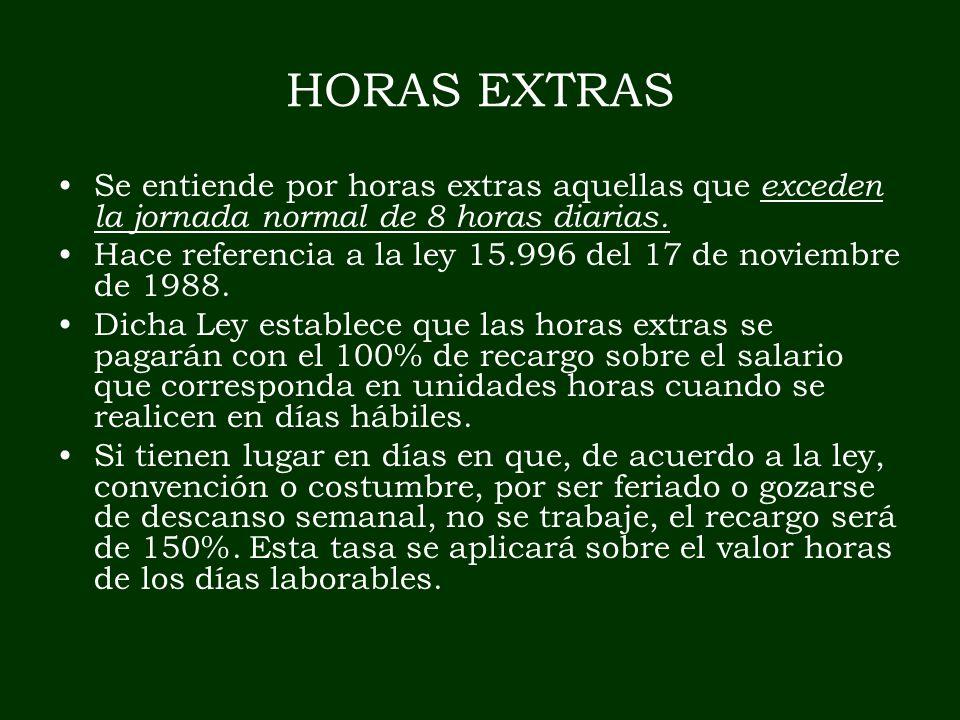 HORAS EXTRAS Se entiende por horas extras aquellas que exceden la jornada normal de 8 horas diarias. Hace referencia a la ley 15.996 del 17 de noviemb