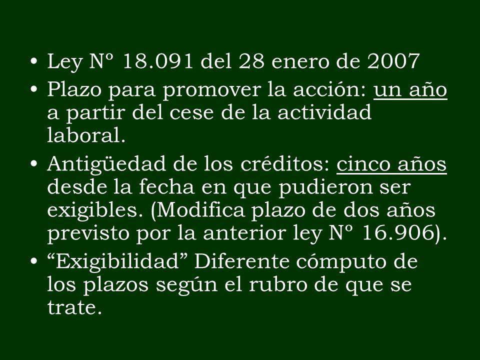Ley Nº 18.091 del 28 enero de 2007 Plazo para promover la acción: un año a partir del cese de la actividad laboral. Antigüedad de los créditos: cinco
