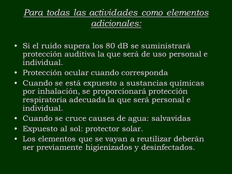 Para todas las actividades como elementos adicionales: Si el ruido supera los 80 dB se suministrará protección auditiva la que será de uso personal e