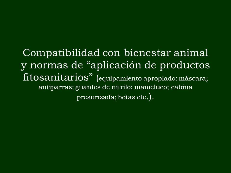 Compatibilidad con bienestar animal y normas de aplicación de productos fitosanitarios ( equipamiento apropiado: máscara; antiparras; guantes de nitri