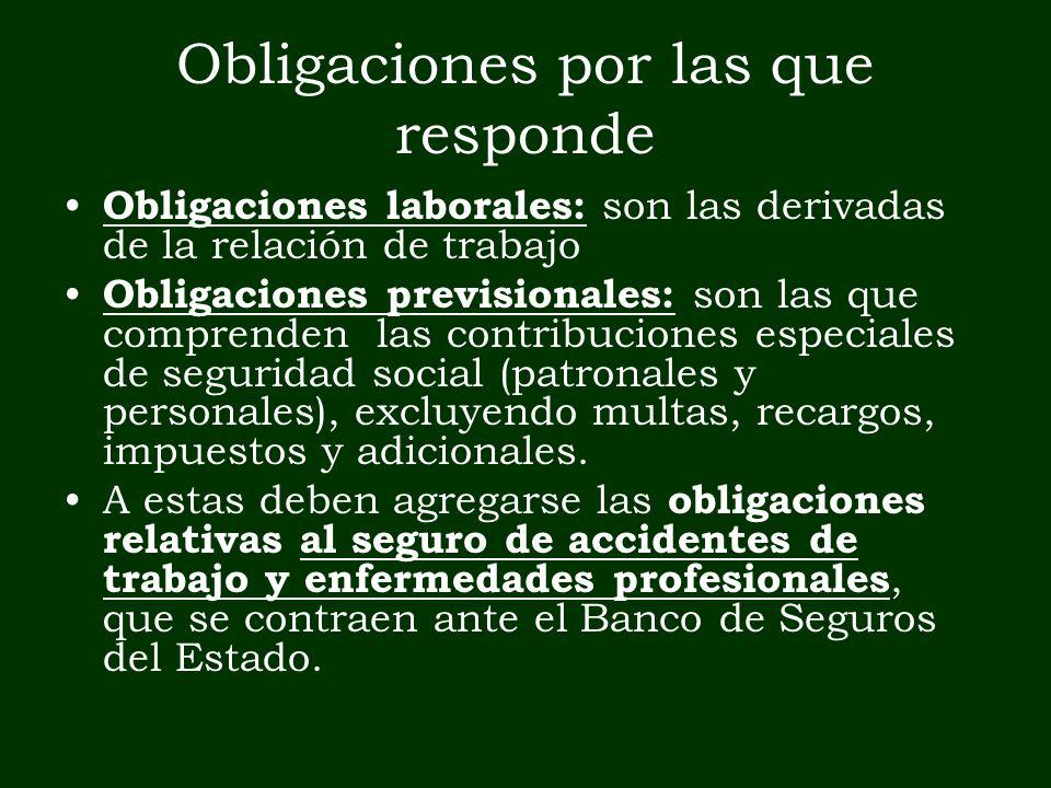 Obligaciones por las que responde Obligaciones laborales: son las derivadas de la relación de trabajo Obligaciones previsionales: son las que comprend