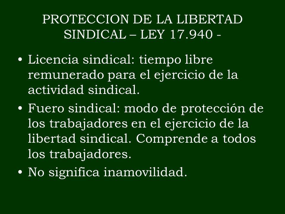 PROTECCION DE LA LIBERTAD SINDICAL – LEY 17.940 - Licencia sindical: tiempo libre remunerado para el ejercicio de la actividad sindical. Fuero sindica