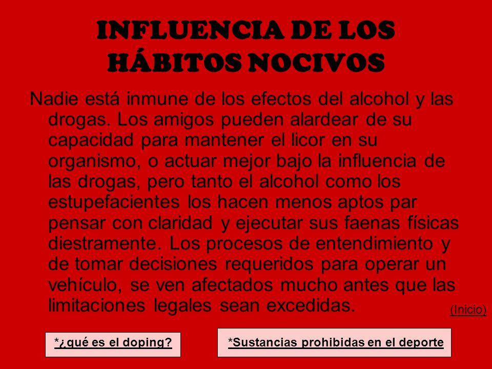 INFLUENCIA DE LOS HÁBITOS NOCIVOS Nadie está inmune de los efectos del alcohol y las drogas. Los amigos pueden alardear de su capacidad para mantener