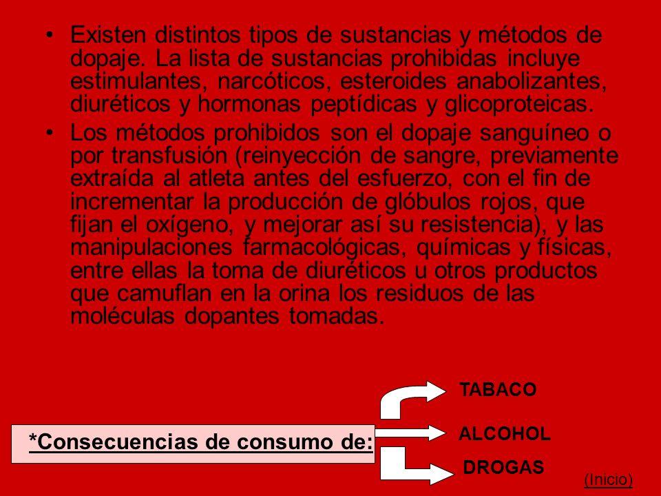 Existen distintos tipos de sustancias y métodos de dopaje. La lista de sustancias prohibidas incluye estimulantes, narcóticos, esteroides anabolizante