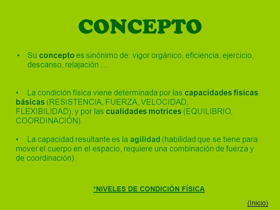CONCEPTO Su concepto es sinónimo de: vigor orgánico, eficiencia, ejercicio, descanso, relajación … La condición física viene determinada por las capac