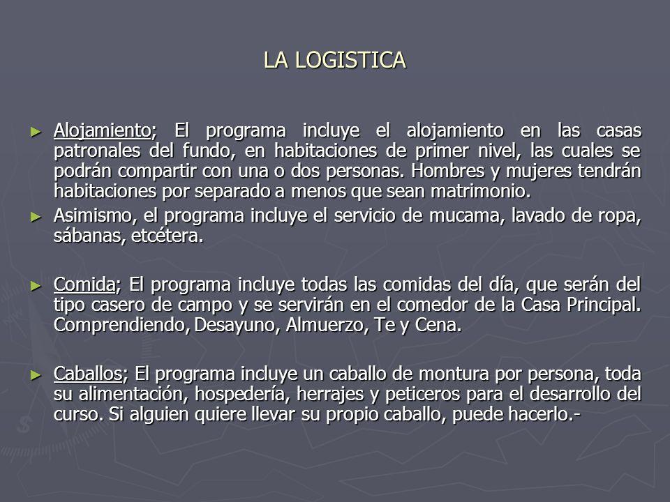 LA LOGISTICA Alojamiento; El programa incluye el alojamiento en las casas patronales del fundo, en habitaciones de primer nivel, las cuales se podrán