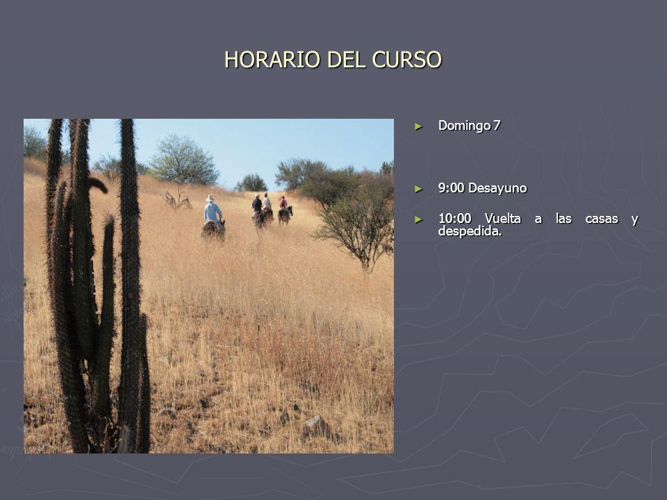 HORARIO DEL CURSO Domingo 7 9:00 Desayuno 10:00 Vuelta a las casas y despedida.