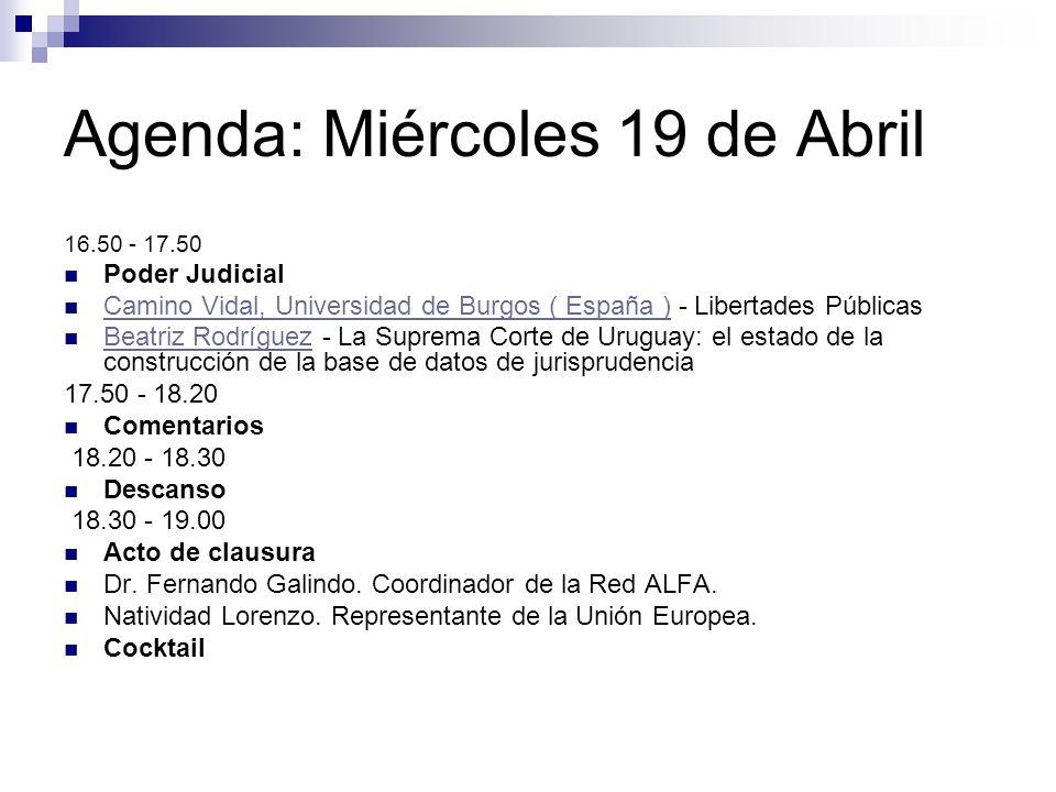 Agenda: Miércoles 19 de Abril 16.50 - 17.50 Poder Judicial Camino Vidal, Universidad de Burgos ( España ) - Libertades Públicas Camino Vidal, Universi