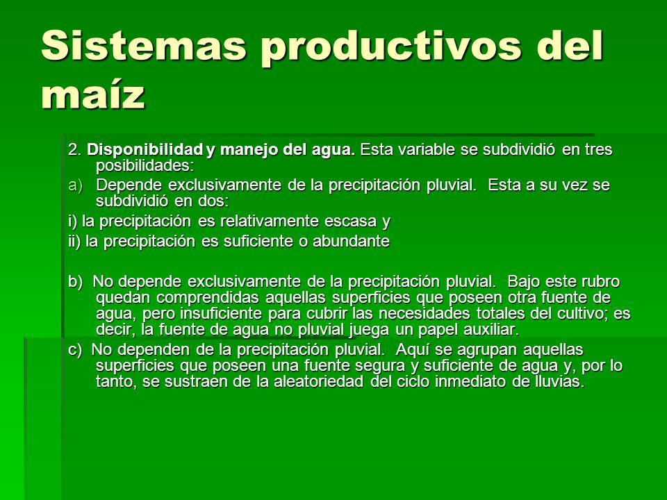 Sistemas productivos del maíz 2. Disponibilidad y manejo del agua. Esta variable se subdividió en tres posibilidades: a)Depende exclusivamente de la p