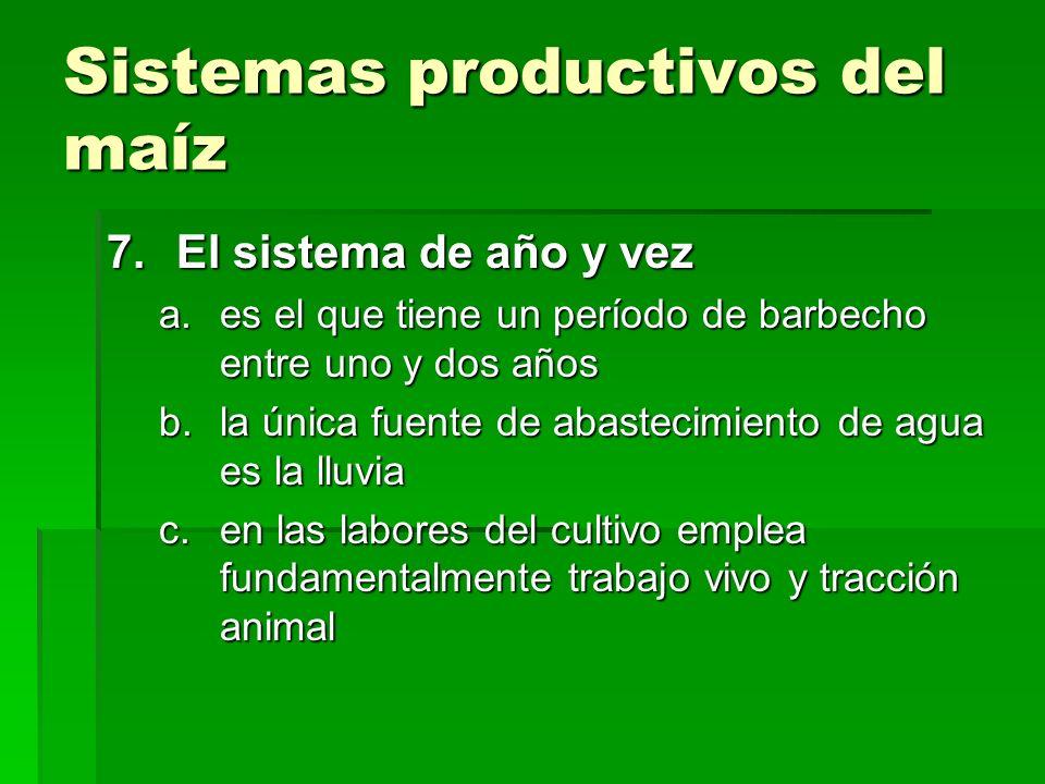 Sistemas productivos del maíz 7.El sistema de año y vez a.es el que tiene un período de barbecho entre uno y dos años b.la única fuente de abastecimie