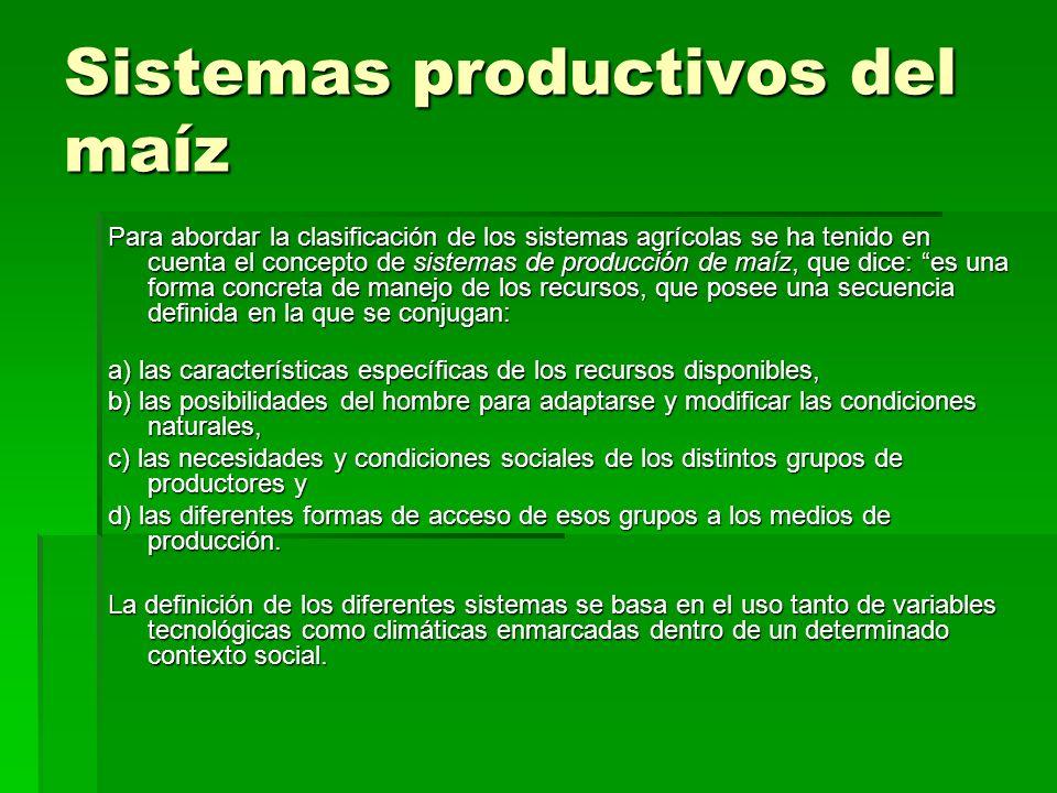 Sistemas productivos del maíz Para abordar la clasificación de los sistemas agrícolas se ha tenido en cuenta el concepto de sistemas de producción de