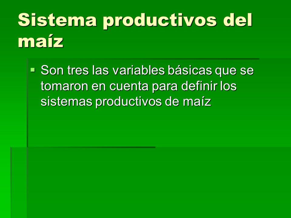 Sistema productivos del maíz Son tres las variables básicas que se tomaron en cuenta para definir los sistemas productivos de maíz Son tres las variab