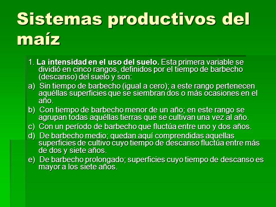 Sistemas productivos del maíz 1. La intensidad en el uso del suelo. Esta primera variable se dividió en cinco rangos, definidos por el tiempo de barbe