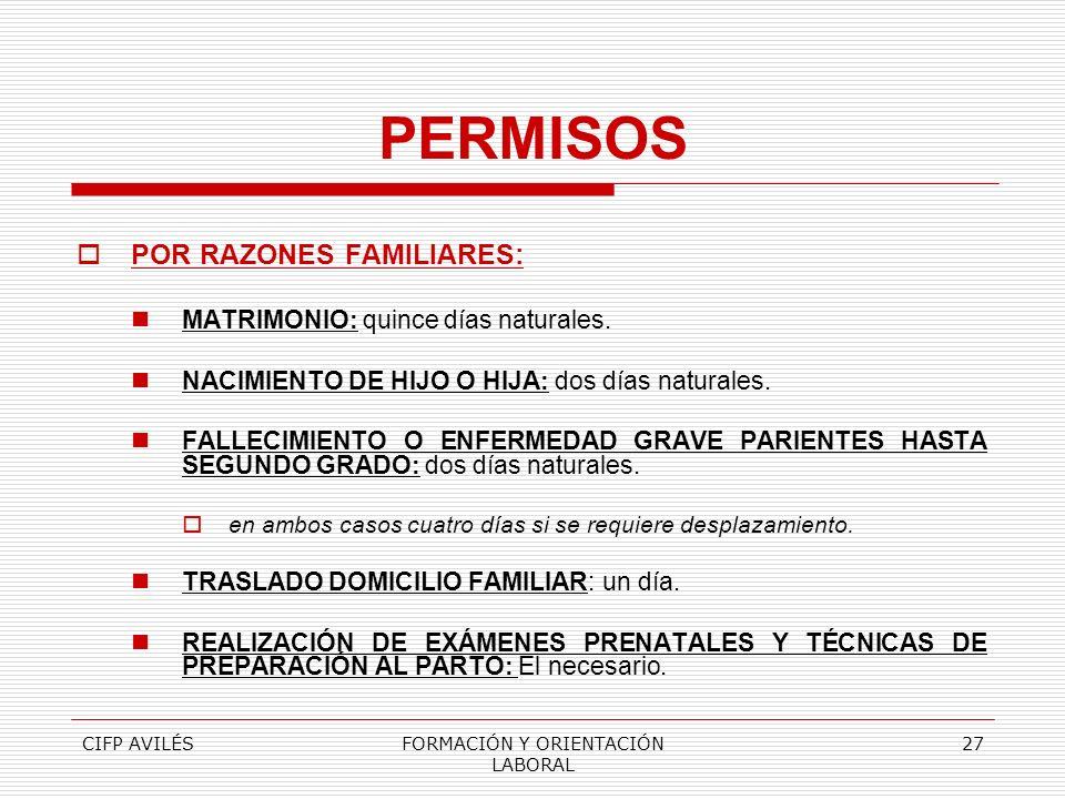 CIFP AVILÉSFORMACIÓN Y ORIENTACIÓN LABORAL 27 PERMISOS POR RAZONES FAMILIARES: MATRIMONIO: quince días naturales. NACIMIENTO DE HIJO O HIJA: dos días