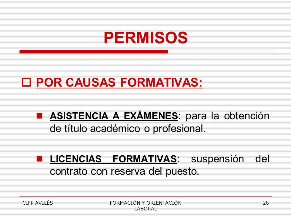 CIFP AVILÉSFORMACIÓN Y ORIENTACIÓN LABORAL 28 PERMISOS POR CAUSAS FORMATIVAS: ASISTENCIA A EXÁMENES : para la obtención de título académico o profesio