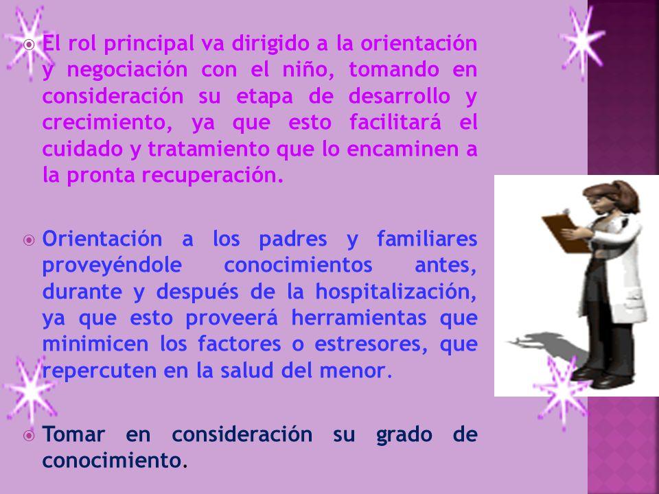 El rol principal va dirigido a la orientación y negociación con el niño, tomando en consideración su etapa de desarrollo y crecimiento, ya que esto fa