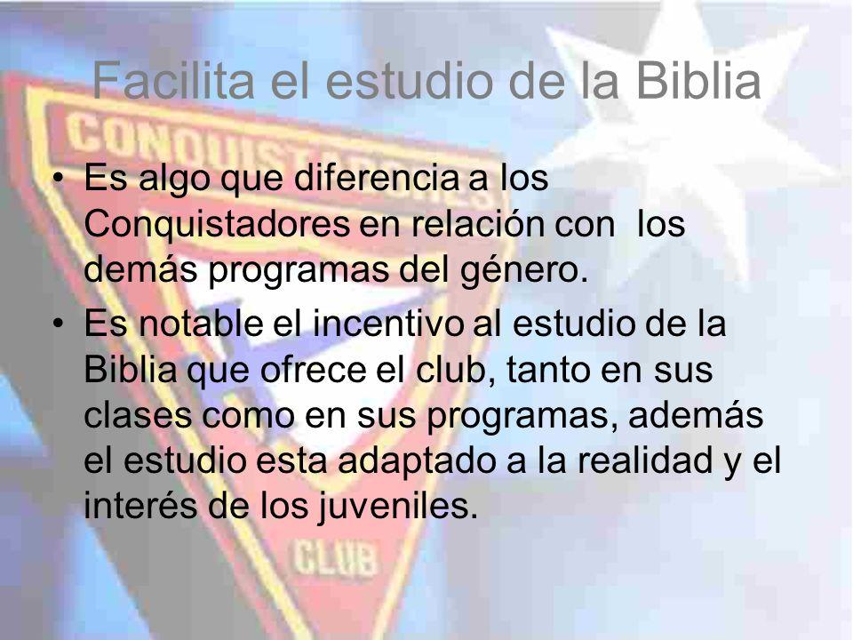 Facilita el estudio de la Biblia Es algo que diferencia a los Conquistadores en relación con los demás programas del género. Es notable el incentivo a