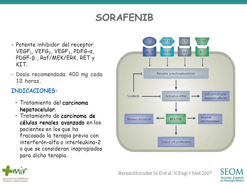 SORAFENIB -Potente inhibidor del receptor VEGF 1, VEFG 2, VEGF 3, PDFG-α, PDGF-β, Raf/MEK/ERK, RET y KIT. -Dosis recomendada 400 mg cada 12 horas. IND