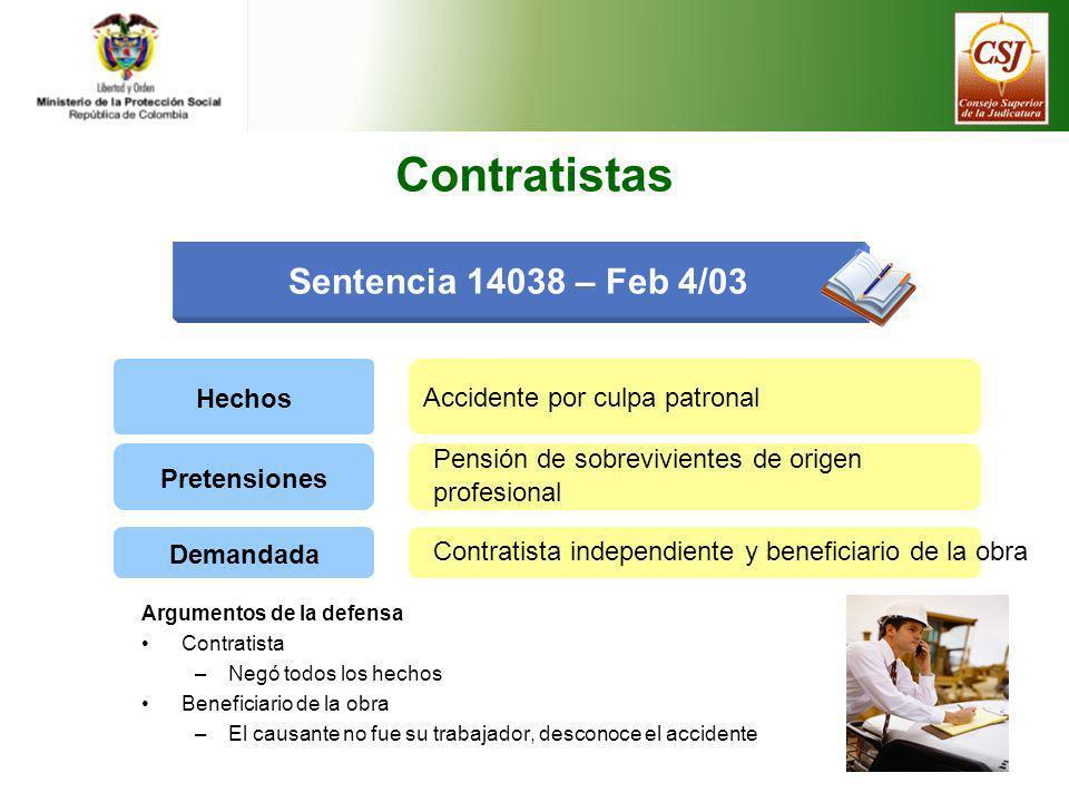 Sentencia 14038 – Feb 4/03 Contratistas Hechos Accidente por culpa patronal Pretensiones Pensión de sobrevivientes de origen profesional Demandada Con