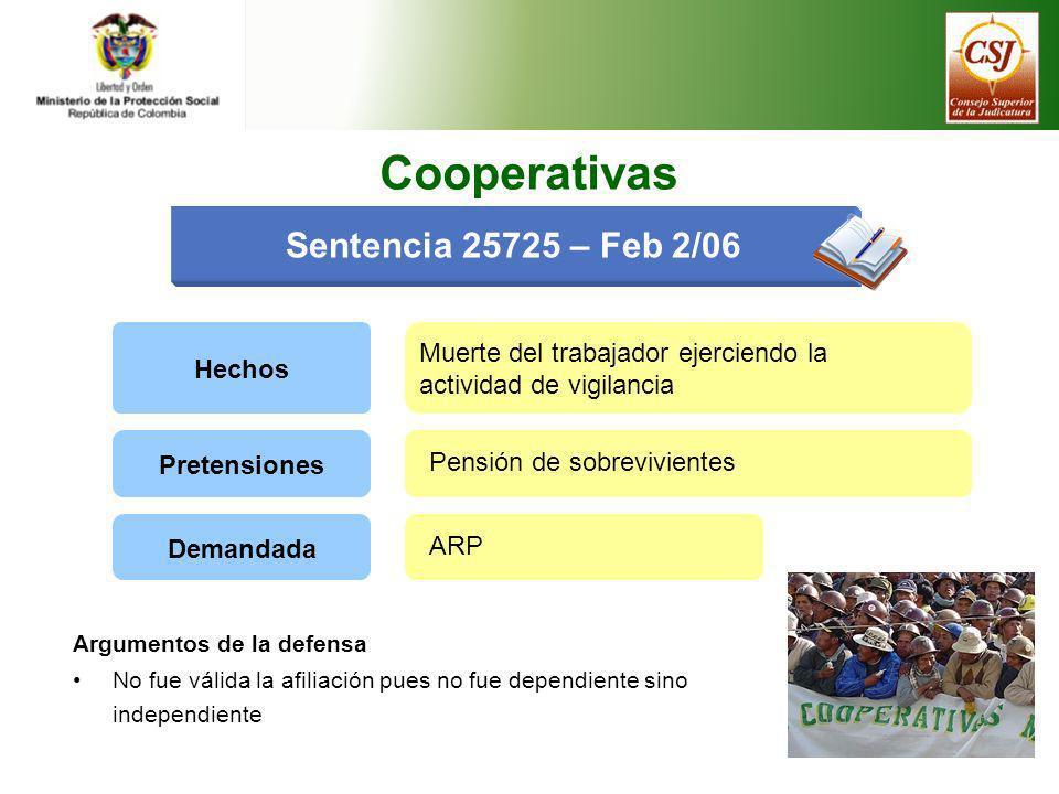 Sentencia 25725 – Feb 2/06 Hechos Muerte del trabajador ejerciendo la actividad de vigilancia Pretensiones Pensión de sobrevivientes Demandada ARP Coo