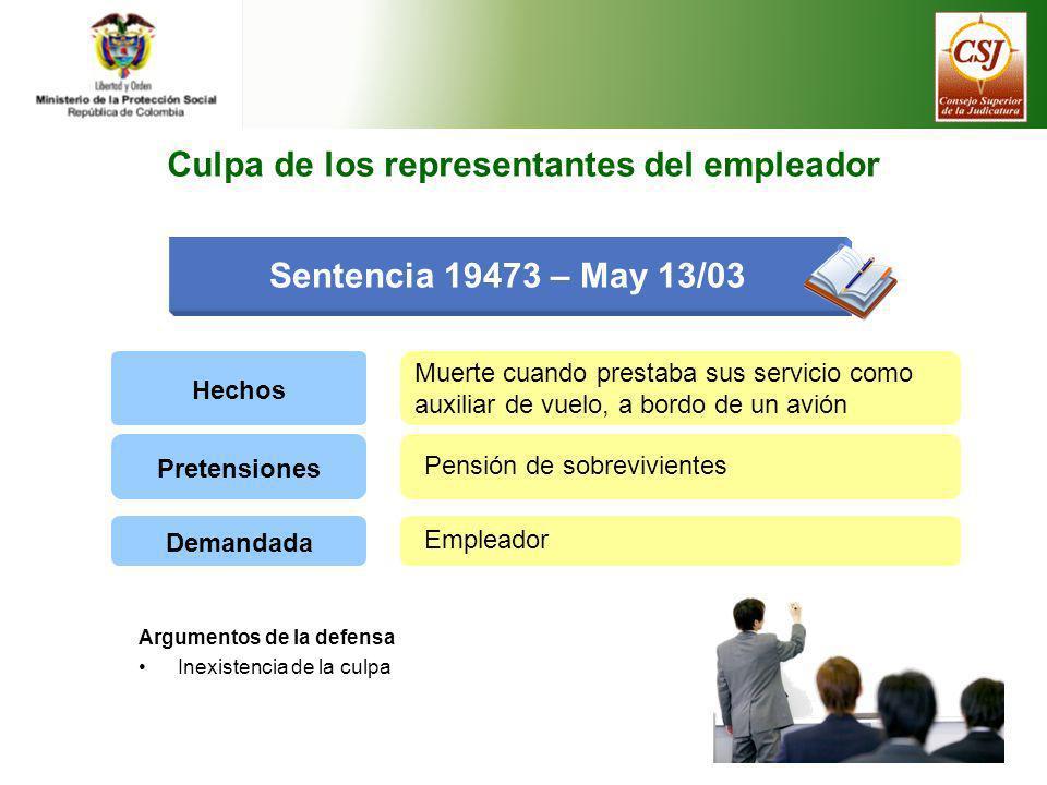 Sentencia 19473 – May 13/03 Culpa de los representantes del empleador Hechos Muerte cuando prestaba sus servicio como auxiliar de vuelo, a bordo de un