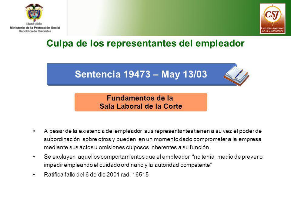 Sentencia 19473 – May 13/03 Fundamentos de la Sala Laboral de la Corte A pesar de la existencia del empleador sus representantes tienen a su vez el po