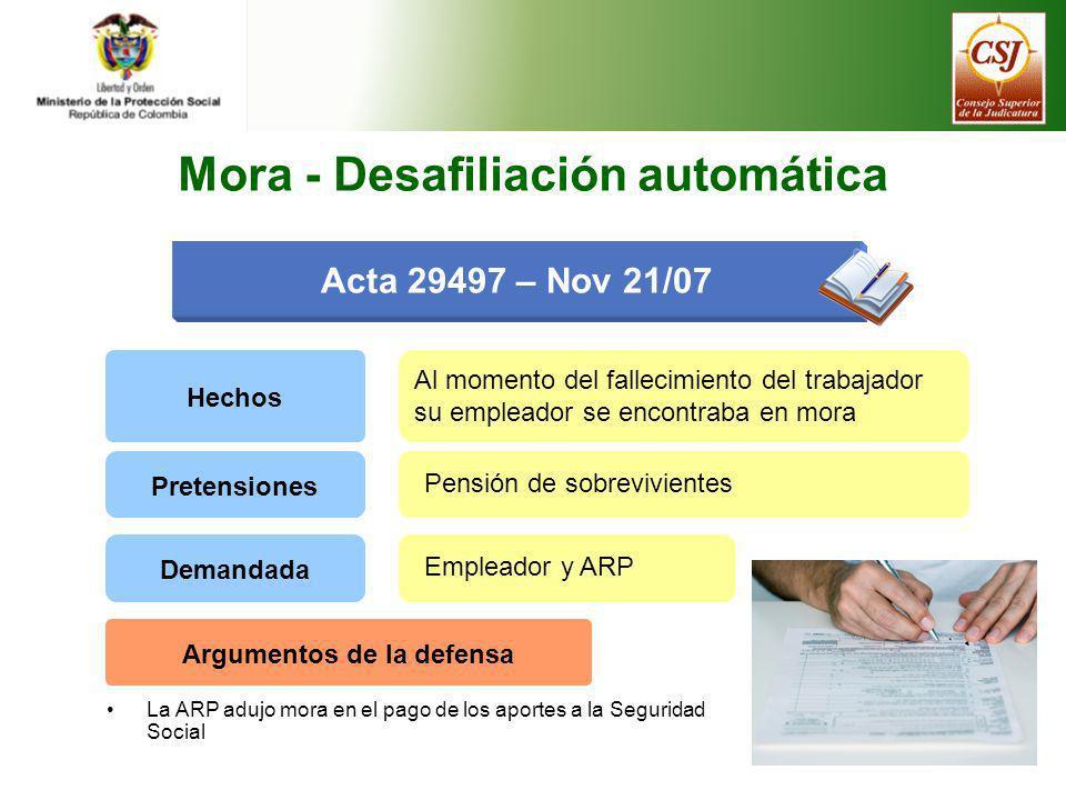 Acta 29497 – Nov 21/07 Hechos Al momento del fallecimiento del trabajador su empleador se encontraba en mora Pretensiones Pensión de sobrevivientes De
