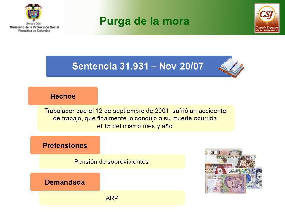 Purga de la mora Sentencia 31.931 – Nov 20/07 Hechos Trabajador que el 12 de septiembre de 2001, sufrió un accidente de trabajo, que finalmente lo con