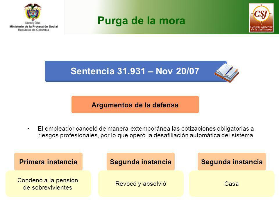 Purga de la mora Sentencia 31.931 – Nov 20/07 Argumentos de la defensa El empleador canceló de manera extemporánea las cotizaciones obligatorias a rie