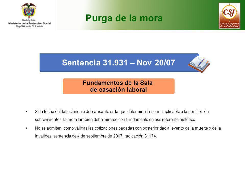 Purga de la mora Sentencia 31.931 – Nov 20/07 Fundamentos de la Sala de casación laboral Si la fecha del fallecimiento del causante es la que determin