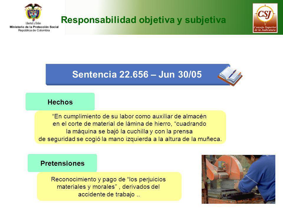 Responsabilidad objetiva y subjetiva Sentencia 22.656 – Jun 30/05 Hechos En cumplimiento de su labor como auxiliar de almacén en el corte de material