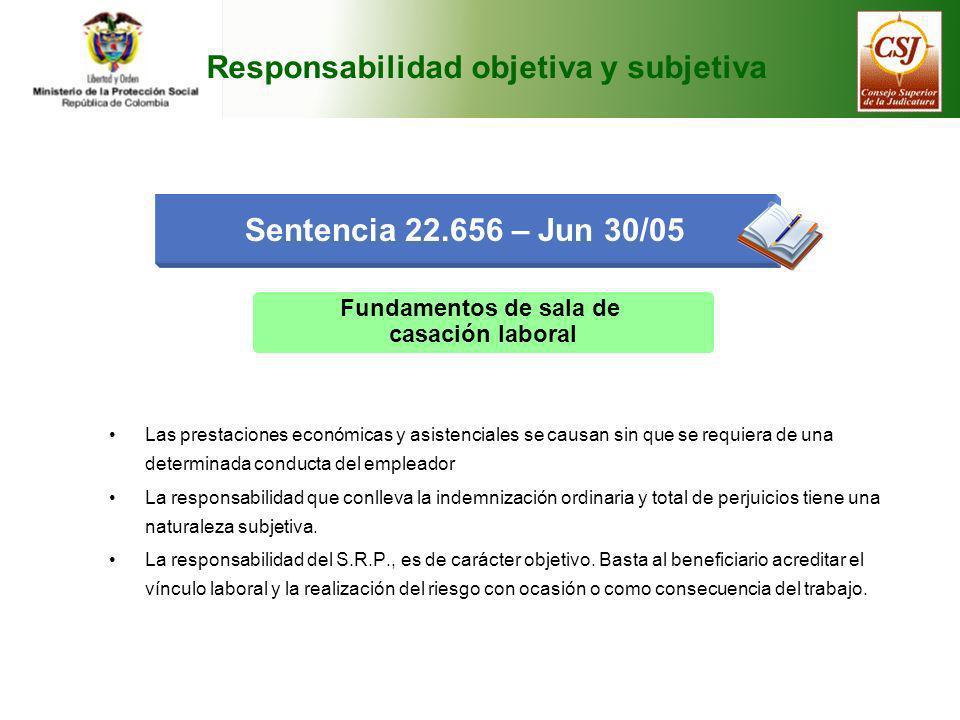 Responsabilidad objetiva y subjetiva Sentencia 22.656 – Jun 30/05 Fundamentos de sala de casación laboral Las prestaciones económicas y asistenciales