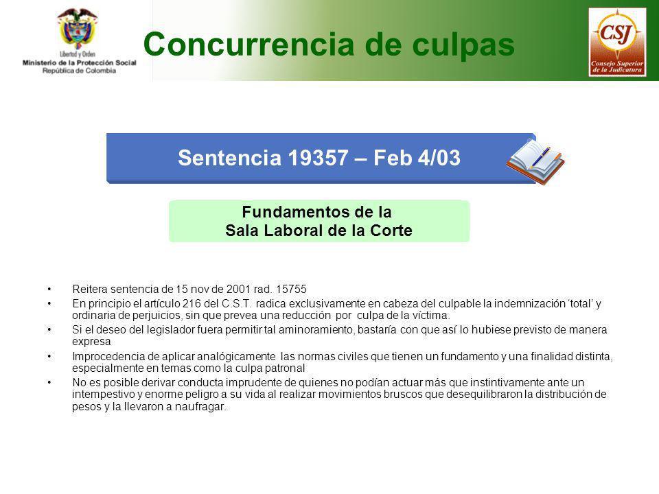 Fundamentos de la Sala Laboral de la Corte Reitera sentencia de 15 nov de 2001 rad. 15755 En principio el artículo 216 del C.S.T. radica exclusivament