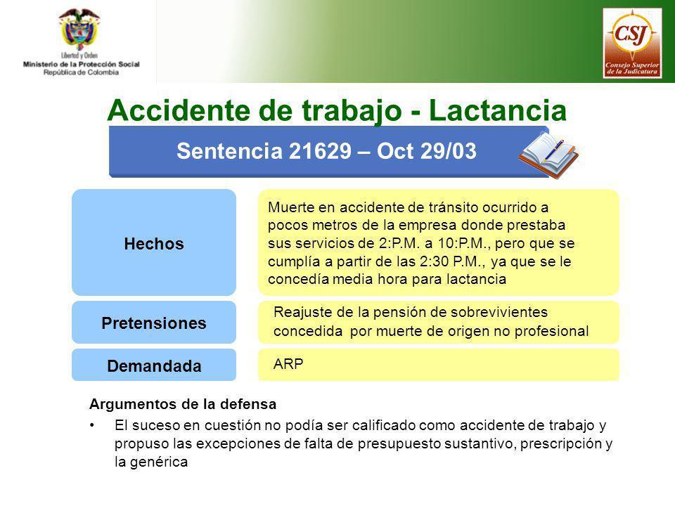 Hechos Muerte en accidente de tránsito ocurrido a pocos metros de la empresa donde prestaba sus servicios de 2:P.M. a 10:P.M., pero que se cumplía a p