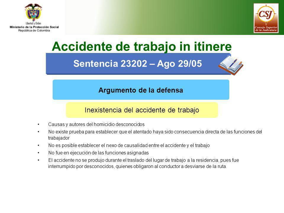 Sentencia 23202 – Ago 29/05 Argumento de la defensa Inexistencia del accidente de trabajo Causas y autores del homicidio desconocidos No existe prueba