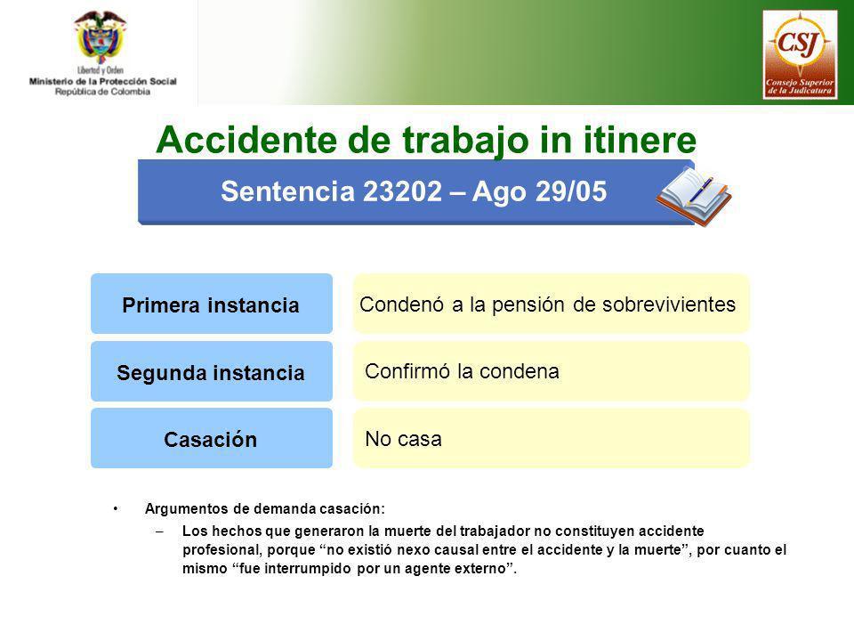 Sentencia 23202 – Ago 29/05 Primera instancia Condenó a la pensión de sobrevivientes Argumentos de demanda casación: –Los hechos que generaron la muer