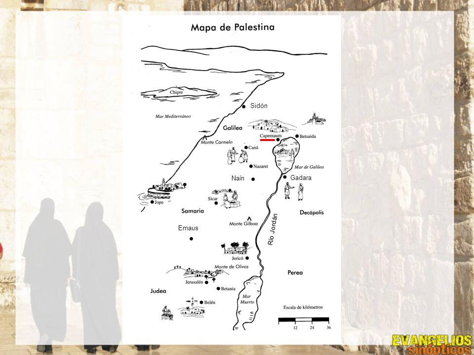 Emaus Gadara Naín Sidón Río Jordán