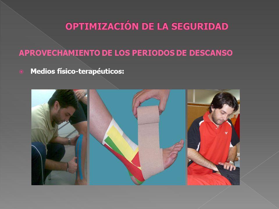 APROVECHAMIENTO DE LOS PERIODOS DE DESCANSO Medios físico-terapéuticos: