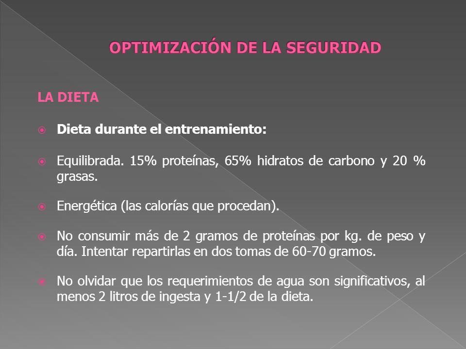 LA DIETA Dieta durante el entrenamiento: Equilibrada. 15% proteínas, 65% hidratos de carbono y 20 % grasas. Energética (las calorías que procedan). No