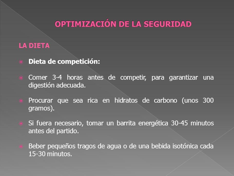 LA DIETA Dieta de competición: Comer 3-4 horas antes de competir, para garantizar una digestión adecuada. Procurar que sea rica en hidratos de carbono