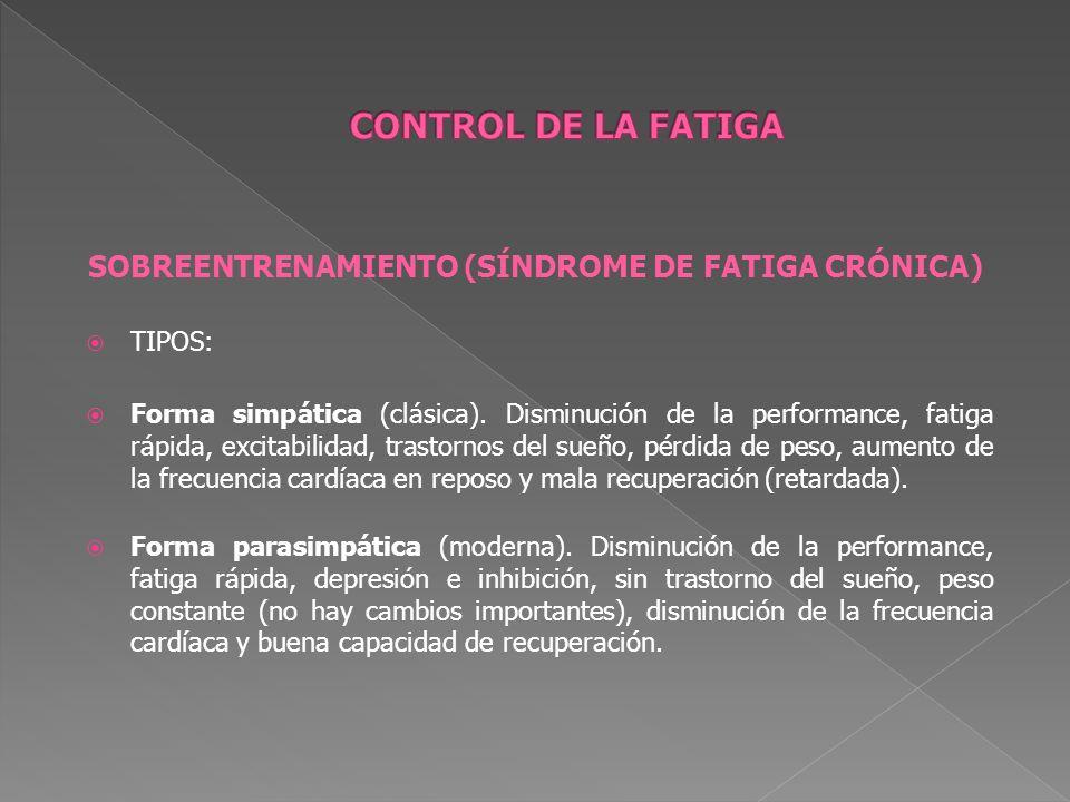 SOBREENTRENAMIENTO (SÍNDROME DE FATIGA CRÓNICA) TIPOS: Forma simpática (clásica). Disminución de la performance, fatiga rápida, excitabilidad, trastor