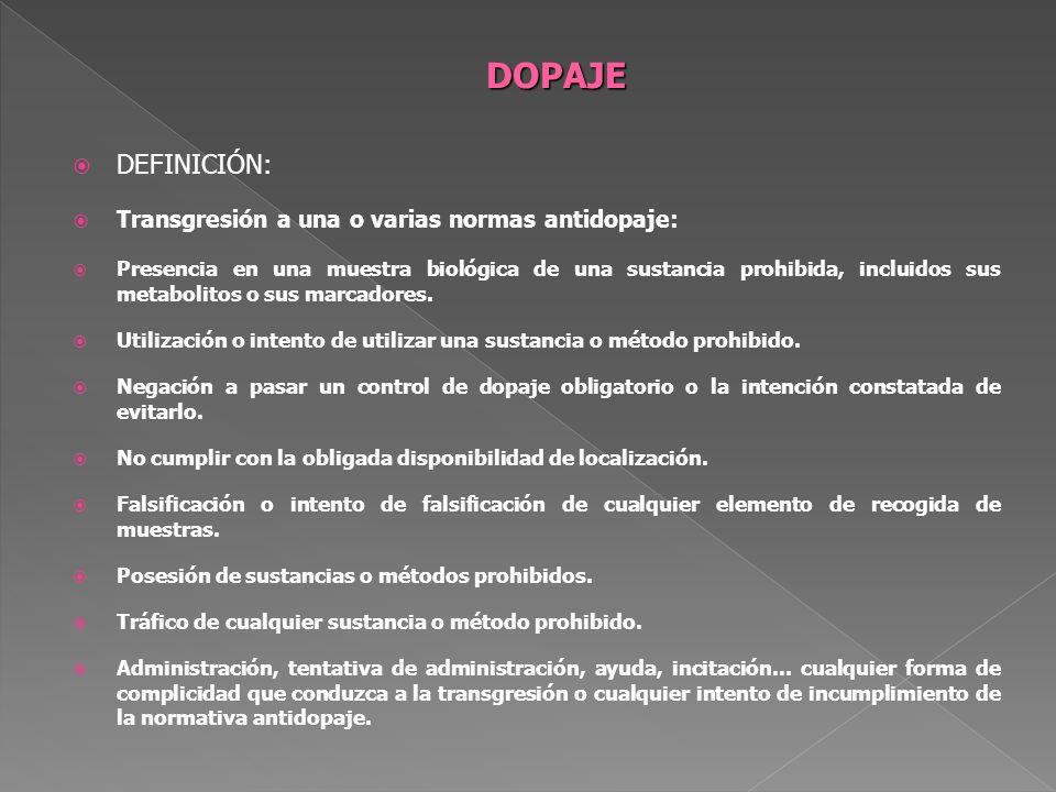 DEFINICIÓN: Transgresión a una o varias normas antidopaje: Presencia en una muestra biológica de una sustancia prohibida, incluidos sus metabolitos o