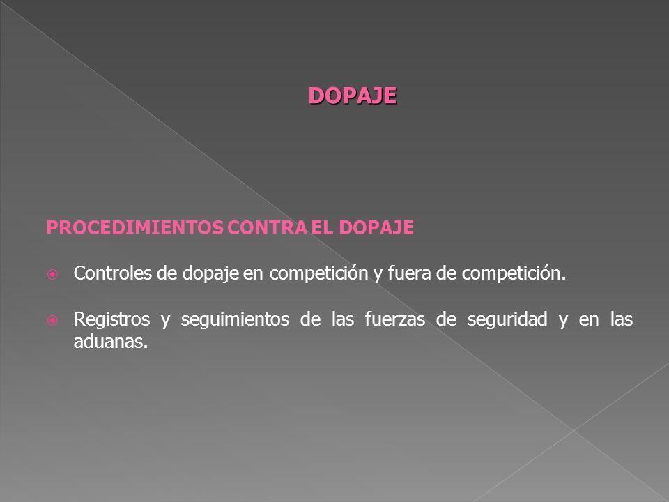 PROCEDIMIENTOS CONTRA EL DOPAJE Controles de dopaje en competición y fuera de competición. Registros y seguimientos de las fuerzas de seguridad y en l