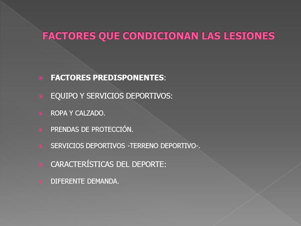 FACTORES PREDISPONENTES: EQUIPO Y SERVICIOS DEPORTIVOS: ROPA Y CALZADO. PRENDAS DE PROTECCIÓN. SERVICIOS DEPORTIVOS -TERRENO DEPORTIVO-. CARACTERÍSTIC